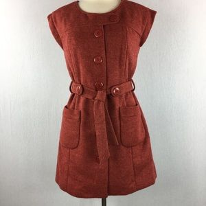 Anthropologie Tabitha Blustery Rust Dress Coat